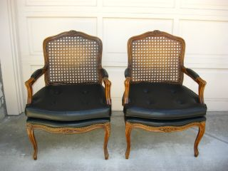L Gorgeous Pair Cane Accent Arm Chairs Black Vintage French Provincial In Italy photo