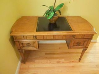 Vintage Drexel Mid Century Esperanto Leather Top Desk photo