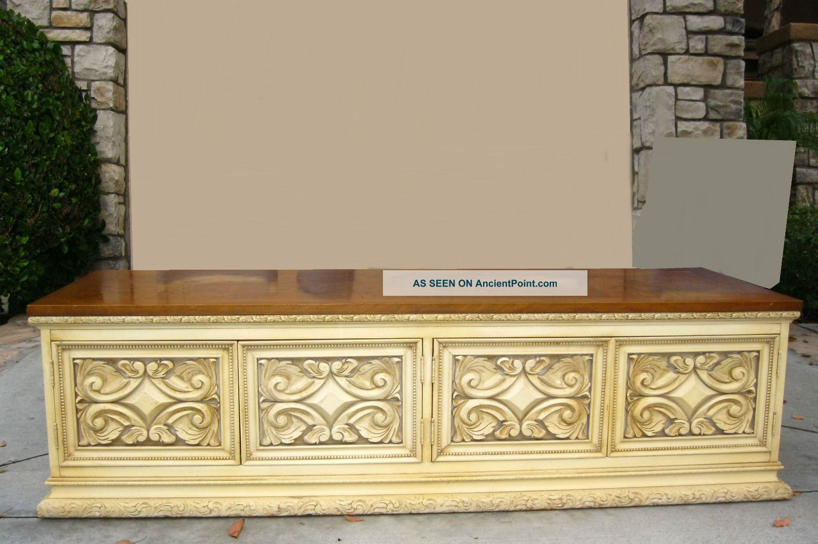 Vintage Hollywood Regency Low Profile Credenza Ornate Buffet French Mid Century Post-1950 photo