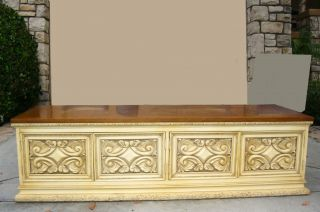 Vintage Hollywood Regency Low Profile Credenza Ornate Buffet French Mid Century photo