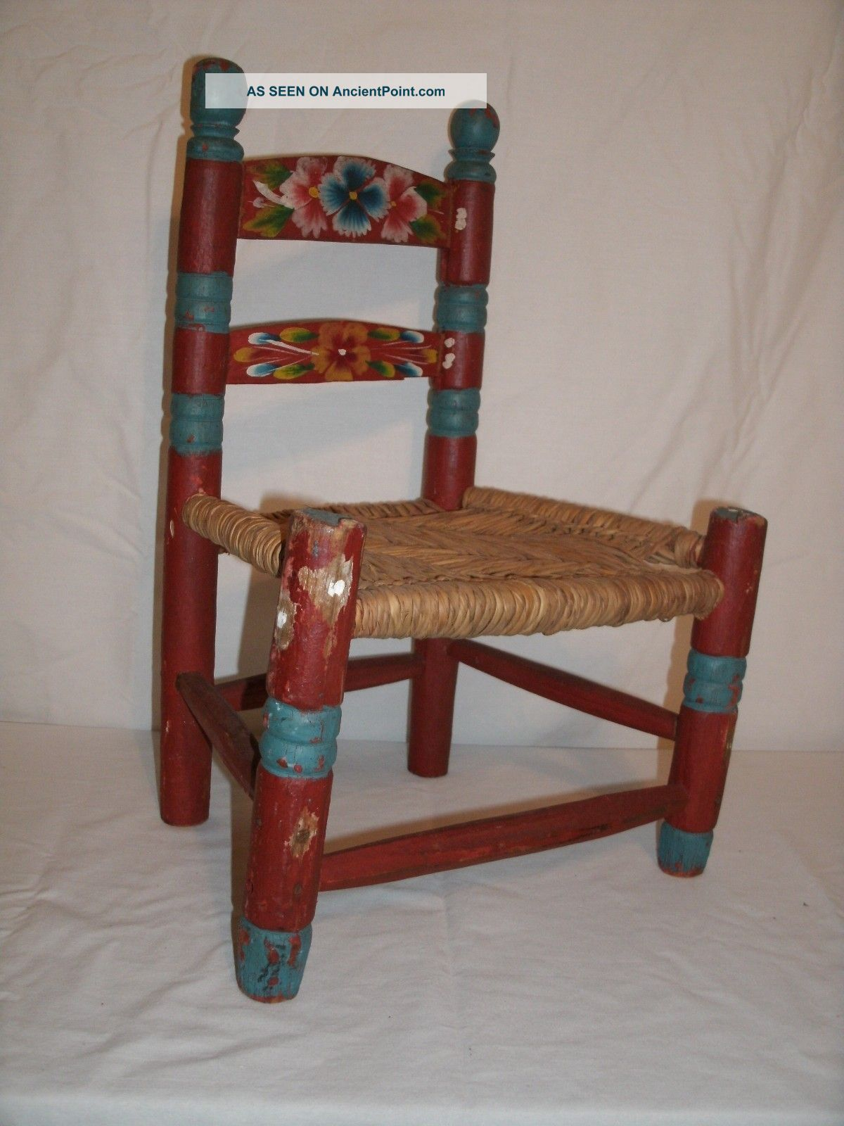 & Vintage Mexican Hand Painted Red u0026 Teal Wood Childs Chair
