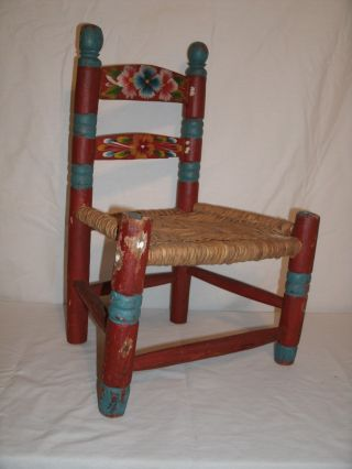 Vintage Mexican Hand Painted Red & Teal Wood Childs Chair photo