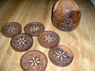 Vintage Made In India Set Of 6 Wood Carved Coasters & Holder Has Floral Pattern photo