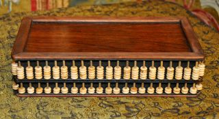 Antique Abacus Old Wood Box Suanpan 算 盤 64 Column 448 Count Beads Chinese photo