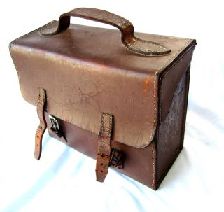 Antique Doctor's / Chemist's / Veterinarian's Leather Carry Bag photo