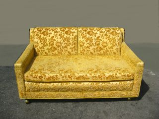 Vintage Hollywood Regency Orange & Gold Floral Velvet Loveseat Sofa Mid Century photo