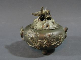 Antique Japanese Bronze Censer Grasshopper/cricket Finial Lizard Handles photo