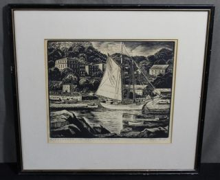 Antique Carroll Thayer Berry Windjammer In Rockport Maine,  Woodcut Print photo