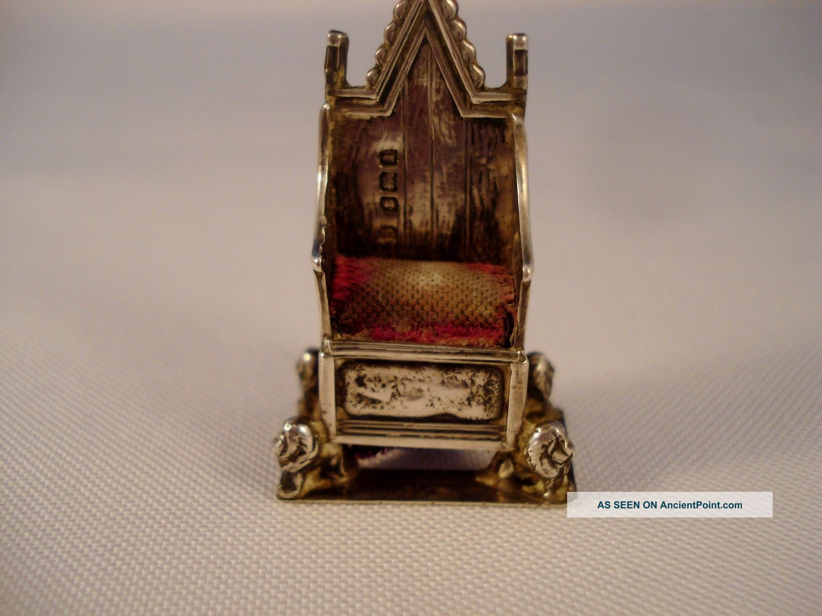 1910 Levi/salaman Sterling Silver King Edward Vii Coronation Chair Pin Cushion United Kingdom photo