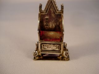1910 Levi/salaman Sterling Silver King Edward Vii Coronation Chair Pin Cushion photo