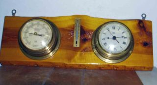 Vintage C1980 German Made Ipc Quartz Ships Brass Clock Barometer & Thermometer photo