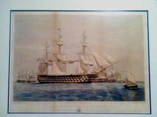 1853 Thomas Dutton Print Of The H.  M.  S.  Wellington. photo