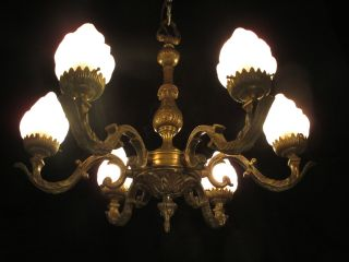 Antique Solid Bronze 6 Light Chandelier From The 1930s photo
