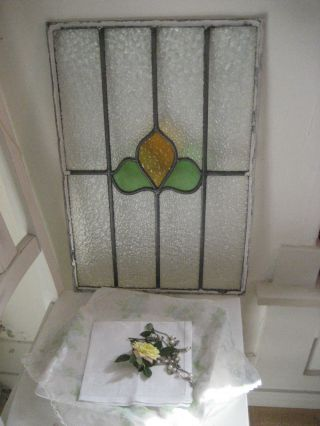 Old Stained Leaded Glass…floral Design…beautiful…14