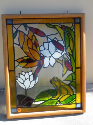 Stained Glass Window In Frame - Square - Frog And Dragon Fly photo