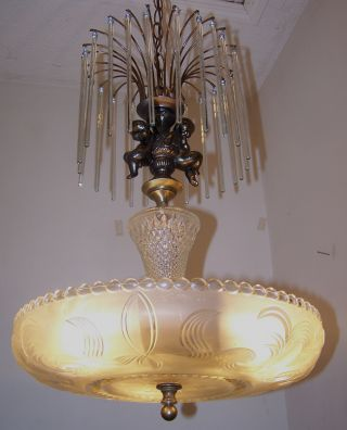 Charming Ex - Large 1930s Art Deco Cascade Prism Crystal Glass Chandelier Fixture photo