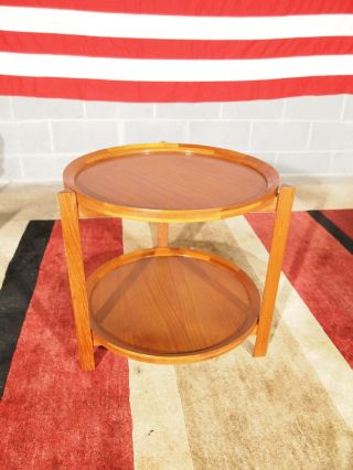 Vintage Danish Modern Eames Era Mcm Teak Two Tier Occasional Table photo