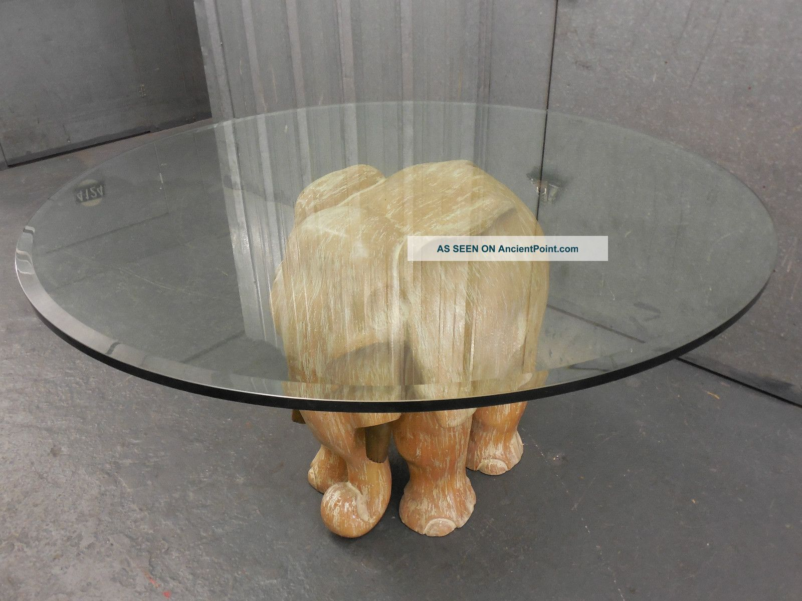 Cerused Wood Sculptural Carved Elephant Table Base (glass Top Optional)