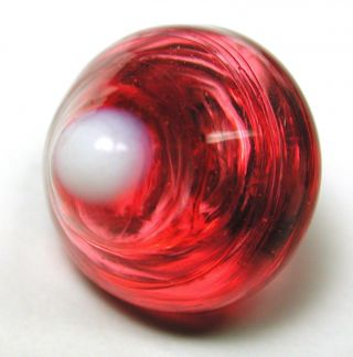 Antique Charmstring Glass Button Milk Tipped Strawberry Conical - Swirl Back photo