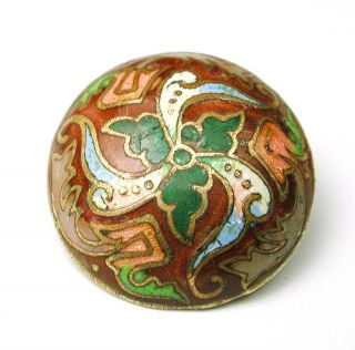 Antique French Enamel Button Colorful Floral Dome Design photo