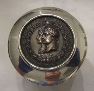 Antique Sterling Silver Tea Caddy With Napoleon & Maria Louisa Jeton Medal photo