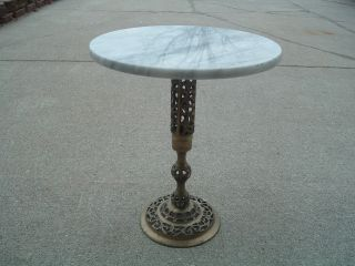 Vintage Brass And Marble Top Table,  Lamp/plant Stand photo