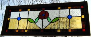 Lead Light House Window Transom Panel - Red Flower photo