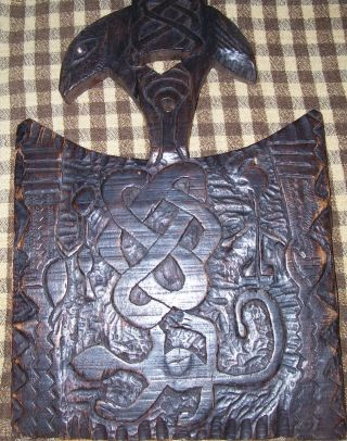 Primitive Hand Carved Symboles Hardwood Distressed Wood Carving Board photo