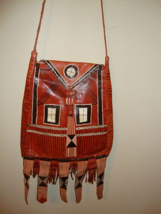 Leather Handbag With Fringes Handmade In Mali African photo