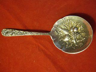 S Kirk & Son Sterling 925 Silver Antique Bon Bon Spoon Repousse 19c Fruit Flower photo