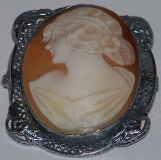 Antique Estate Item Shell Cameo & Filgree Silver Brooch photo