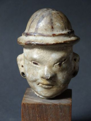 Old Celadon Stoneware Figure Head Of Chinese Southern Song Dynasty - 13th Cent photo