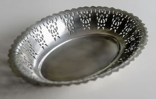 Vintage Silver Plated Pierced Bread Bowl From Toledo (argentina) 12