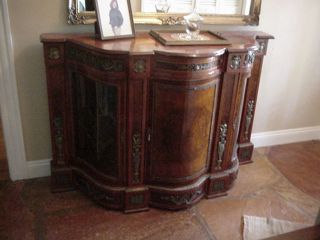 Empire Burl Walnut Italian Entry Piece With China Art Display Sideboard Cabinet photo