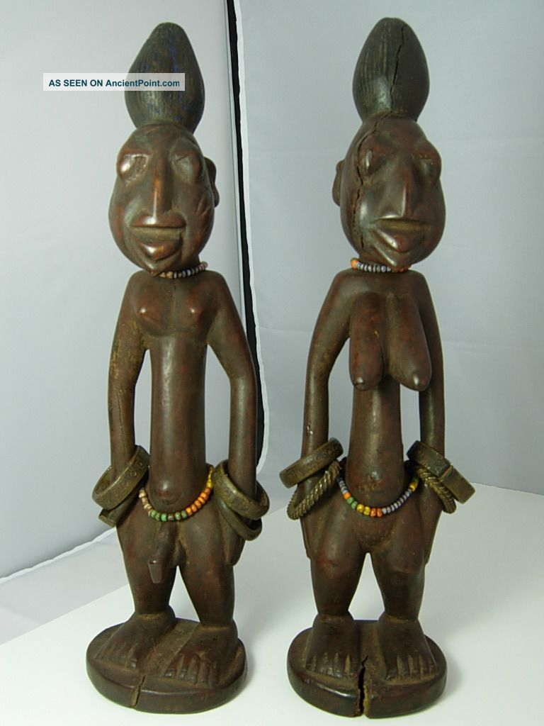 30,  Outstanding Ibeji Male & Female Pair,  Yoruba / Santeria Sculptures & Statues photo