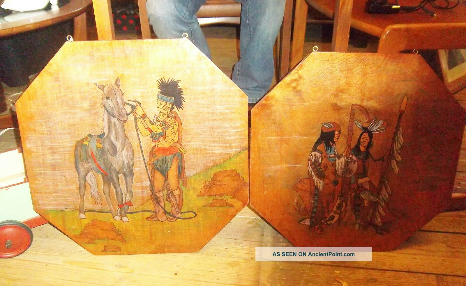 Native American Indian Wooden Wall Plaques Vintage 1950s/ 60s Rare Native American photo