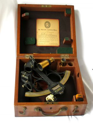 Wwii Kelvin & Wilfred O.  White 10 Inch Hezzanith Sextant In Wooden Case photo