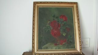 Large Antique Shabby Red Roses Drawing Oil Painting Picture Gilt Frame photo