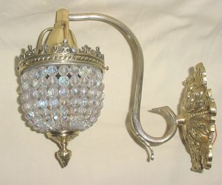 Stunning Bronze Crystal Czech Beads Beaded Wall Sconce 9