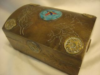 Vintage - Antique Chinese Cloisonne Brass Box Butterfly Wooden Linning photo