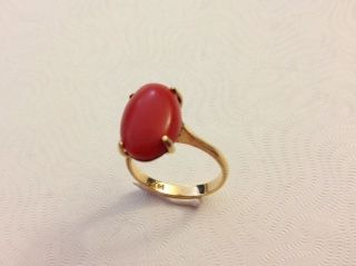 Antique Vintage Chinese 14k Yellow Gold Oxblood Red Coral Ring Size 6 - 3/4 photo