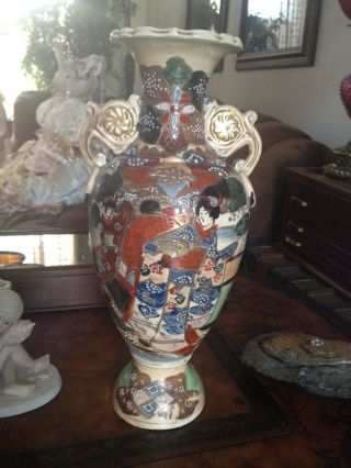Moriage Antique Japanese Moriage Large Vase Hand - Painted photo