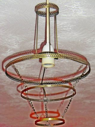 4 - Tier Chandelier Ceiling Light Pendant Frame Antique Brass No Crystal Droplets photo