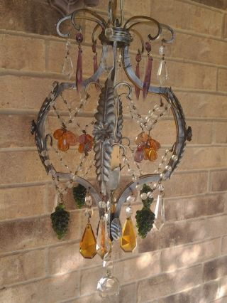 Circa 1930 Vintage Italian Venetian Metal And Art Glass Crystal Chandelier photo