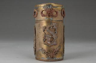 Chinese Handwork Dragon Phoenix Old Copper Toothpick Box photo