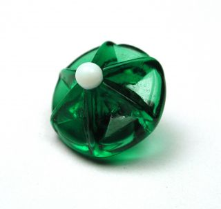 Antique Charmstring Glass Button Green Star Mold W/ White Ball Tip Swirl Back photo