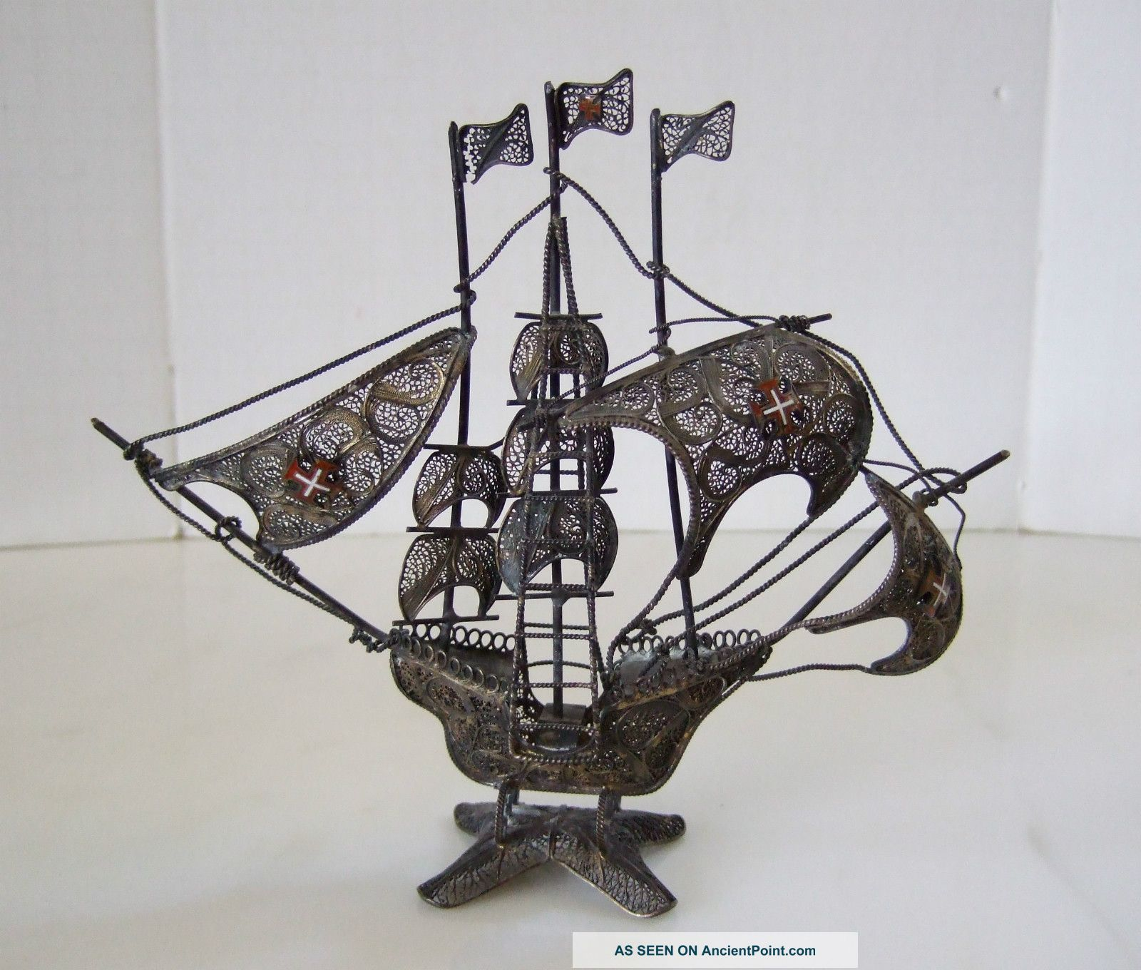 Antique 800 Silver Wire Spanish Galleon Ship Enamel Crosses On Sales – Intricate Silver Alloys (.800-.899) photo