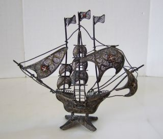 Antique 800 Silver Wire Spanish Galleon Ship Enamel Crosses On Sales – Intricate photo