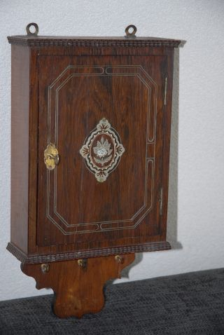 Rare Antique Inlaid Wooden Key Rack / Holder Wall Cabinet photo