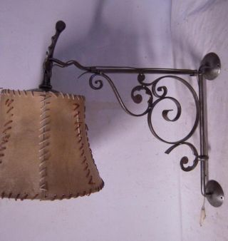 Unique - Quality Hand Made Wrought Iron Art Wall Lamp With Shade photo